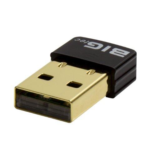 BIGtec 150Mbit nano USB WLAN Stick Adapter Netzwerkadapter Wireless LAN Stick WLAN Dongel mini USB micro USB WLAN Adapter vergoldet 2,4 x 1,3 x 0,5 cm mit Status LED Anzeige , Chipsatz Ralink , Funktioniert bis WIN 8.1 , Windows 10 fähig, Linux , Mac , funktioniert ebenfalls problemlos mit Raspberry Pi