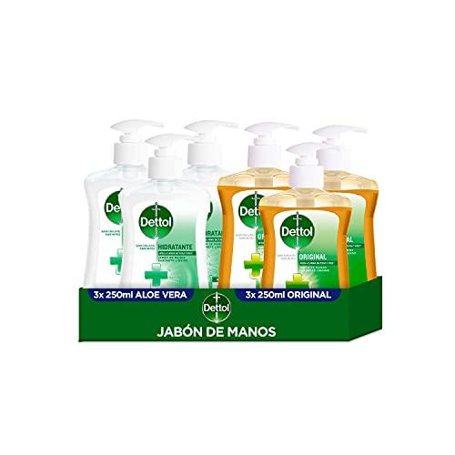 Dettol Pack Jabón de Manos Higienizante Aloe Vera Hidratante 3x250 ml + Original Suave con la Piel 3x250 ml – 6 unidades