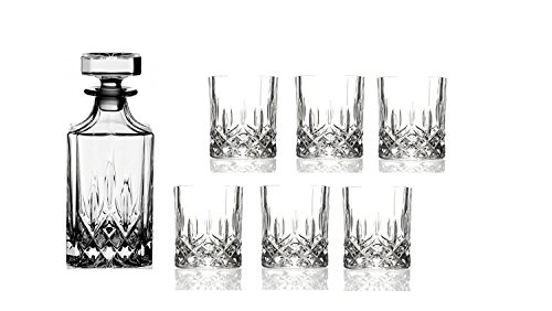 Royal Crystal Rock (RCR) - Set da whisky Opera Maison in cristallo italiano, design tradizionale, composto da 1 decanter da 75 cl e 6 bicchieri da whisky grandi da 30 cl