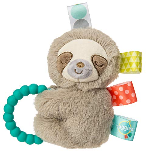 Taggies Sensory Stuffed Animal Soft Rattle with Teether Ring Molasses Sloth