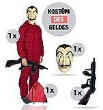 Haus des Geldes Kostüm Set 2020 - 4 Teilig - mit Overall rot, Gewehr, Dali La casa de papel -...