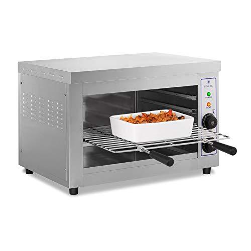 Royal Catering Salamander Grill Überbackgerät (230 V, 3250 W, 50–300 °C, Edelstahl, Auffangbehälter, Timer, Grillrost)