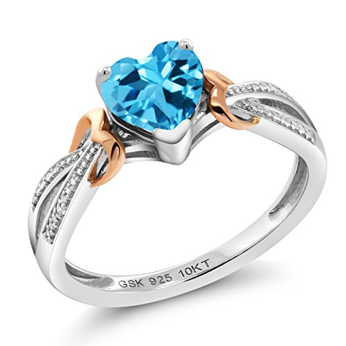 Gem Stone King 925 Silver & 10K Rose Gold Swiss Blue Topaz and Diamond Ring (0.96 Ct Heart Shape Gemstone Birthstone, Available in size 5, 6, 7, 8, 9)
