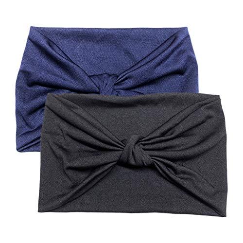oshhni 2pcs Diadema Extragrande Ajuste Ceñido Tela Elástica Suave Envoltura para La Cabeza de Yoga 2 Colores