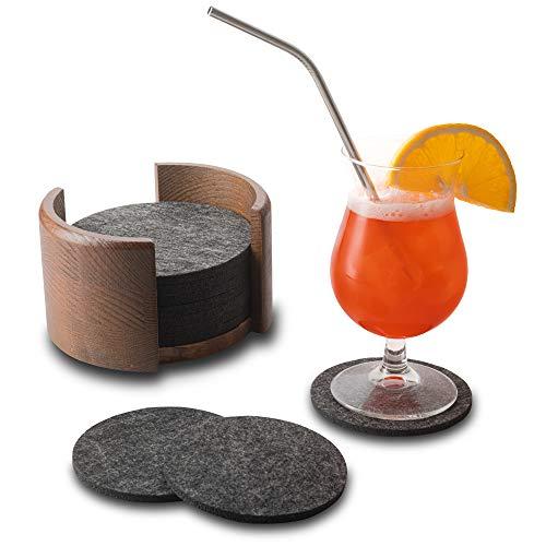 MP Produkt Premium Filz Untersetzer rund für Gläser - 10er Set Ink. Box aus Holz (Braun) - Design Glasuntersetzer in dunkelgrau für Getränke, Tassen, Bar, Glas - Tischuntersetzer Filzuntersetzer