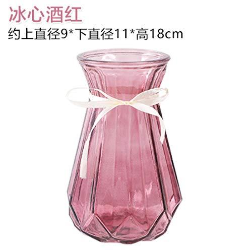LHP - Jarrón de cristal transparente hidropónico de bambú con diseño de lirios