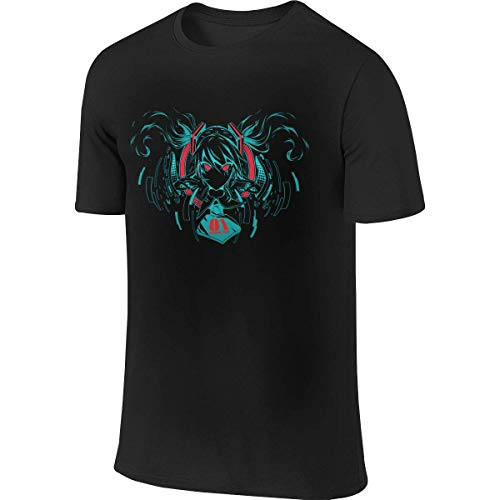 Black Interesting Vocaloid Miku Hatsune Men's Short Sleeve T-Shirt,T-Shirts & Hemden(Medium)