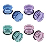 ZS 4 Pairs Glass Ear Gauges Mushroom Single Flare Plugs Tunnels Ear Lobe Stretching Piercing 4G-5/8 inches (Gauge=2g(6mm))