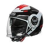 Casco moto Premier COOL OPT 2, Nero/Bianco/Rosso, M
