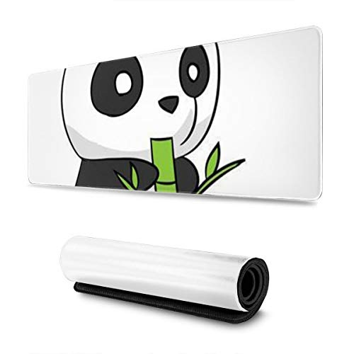 Cute Cartoon Panda Design Pattern XXL XL Large Gaming Mouse Pad Mat Long Extended Mousepad Desk Pad Non-Slip Rubber Mice Pads Stitched Edges (31.5x11.8x0.12 Inch)