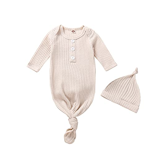 Newborn Girl Boy Knotted Gown Neutral Baby Coming Home Outfit KnittedSleeping Bags (Cream, 0-3 Months)