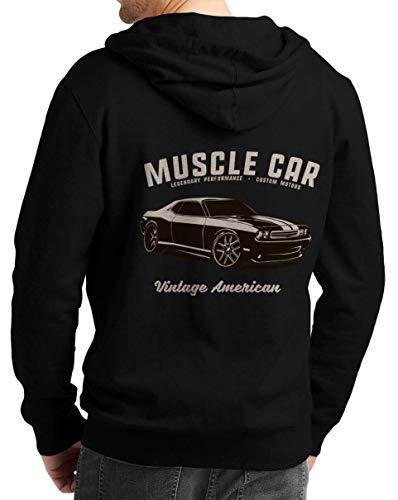 Herren Zip Hoodie Sweat-Jacke mit Kapuze Kapuzen-Jacke Winter mit Motiv Bedruckt Hot-Rod US-Car Amerika Mustang Challenger Muscle-car V8 Challeneger Vintage America Schwarz 2XL