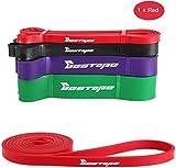 BESTOPE Bande Élastique Fitness Bandes de résistance Latex Naturel pour Musculation Pilates Yoga Rouge 15 -35 lbs Rouge
