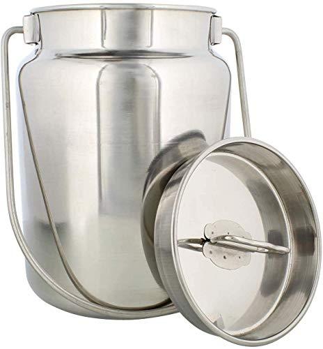 ASP Online Traders RVS Melk Opslag Kan Melkblik, Dolchi Melk Emmer Gallon Melk - 15 liter met Deksel- Ideaal Voor opslag en transport Vloeistof