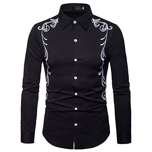 Hombres Bordados Camisa De Manga Larga Casual Slim Fit Western Cowboy Camisa De Vestir Retro Prendas De Abrigo Top (Color : Black, Size : S)