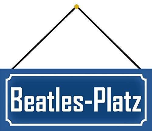 Schatzmix Music Beatles-Platz - Placa metálica decorativa (27 x 10 cm, con cordón), multicolor