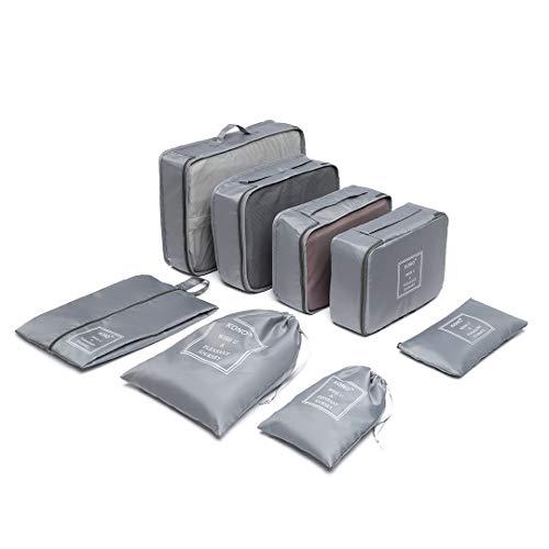 Kono 8 Pcs Packing Cubes Set for Suitcase Luggage Organiser Bag Pouches (Grey)