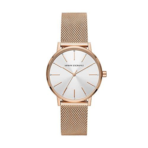 Reloj Armani Exchange para mujer, de acero inoxidable en tono oro rosa y con tres agujas, AX5573
