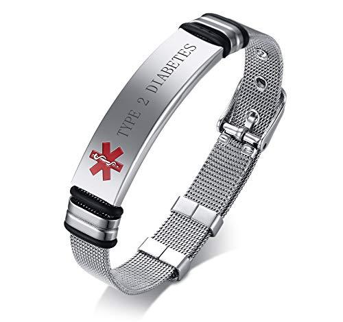 VNOX Nombre de Acero Inoxidable ID de Alerta Médica de Ice Pulsera Ajustable Pulsera de Emergencia Sos para Hombres Mujeres,Type 2 Diabetes Grabada