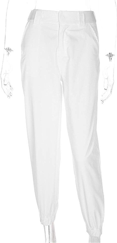 Lady Pants Leisure Fashion Women Cargo Pants Elastic Waist Solid color Loose Jogger Pants Casual Harem Baggy Hip Hop Nightclub Dance Outdoor Jogging Sweatpants Workout Sports Lounge Trousers White Sli