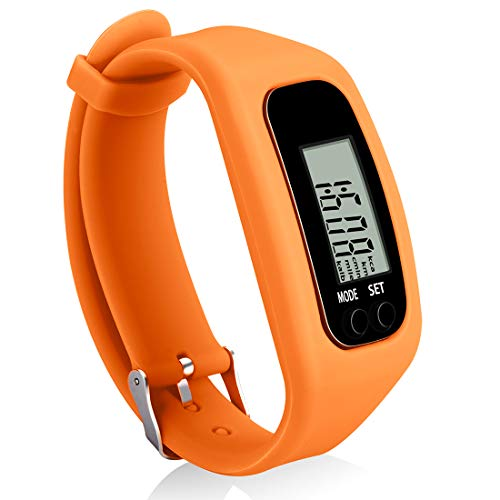 Bomxy Fitness Tracker Watch, Simply Operation Walking Running Pedometer with Calorie Burning and Steps Counting (329-orange)