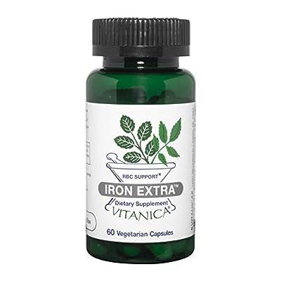 Vitanica Iron Extra, Iron Supplement Enhanced Absorption with Vitamin C 500mg, Methylfolate 400mcg, B12 Vitamin 500mcg, Calcium, Yellow Dock, Dandelion Root & Nettle Leaf Extract, Vegan, 60 Capsules