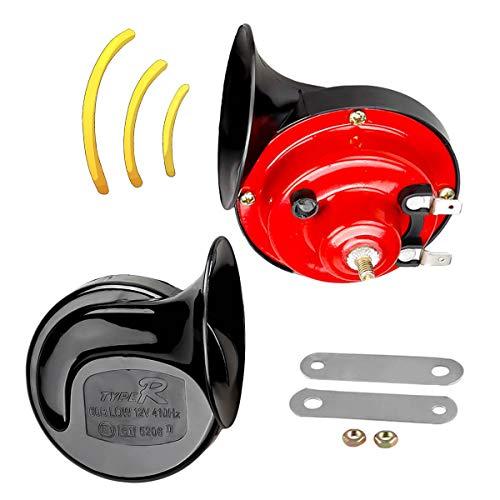 ShineTool Universale Doppio Trombe Auto Clacson Elettrico Forma di Lumaca Bicolore 12V 130dB per Auto, Camion, Moto (1 Coppia)