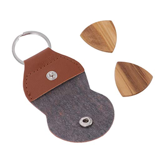 HEALLILY 1 Set Guitar Picks Wood Bass Picks Guitar Plectrum with Guitar Picks Holder for Electric Acoustic Guitars Bass Ukulele