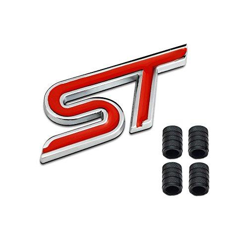 Dsycar 3D Metal S ST Logo Insignia de Coche Emblema Adhesivo + 4 Piezas Estilo moleteado con Núcleo de plástico Tapas de Válvula para Universal Coche Estilo Decoración Accesorios