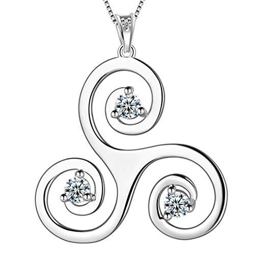 Aurora Tears Celtic Triple Necklace Women 925 Sterling Silver Spiral Triskele Pendant Crystal Triskelion Swirl Jewelry DP0165W