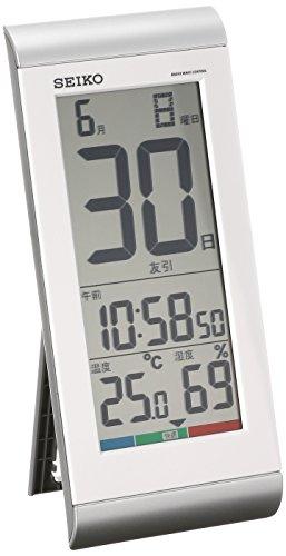 セイコー クロック 掛け時計 置き時計 兼用 日めくりカレンダー 電波 デジタル 温度 湿度 表示 銀色 メタリック SQ431S SEIKO