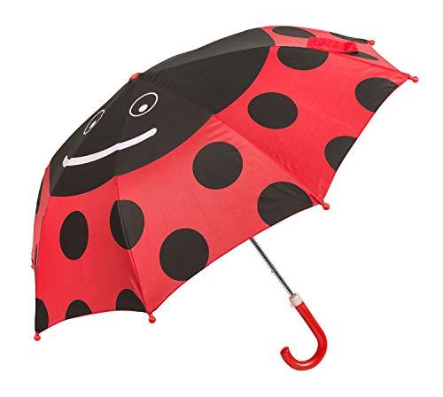 Idena 53091 - Kinderregenschirm für Jungen und Mädchen, ca. 70 cm Durchmesser, Marienkäfer Motiv, schwarz und rot
