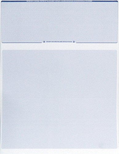 Endoc's Computer Check Paper – Pack of 50 Blank Stock Payroll Sheets with Check on Top and Stub on Bottom – Security Features & Laser Printer Compatible for Home and Business – Blue Diamond