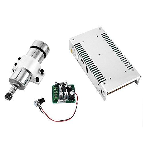 Mophorn Spindle Motor Kit 4er Brushless DC Motorspindel 400W 48VDC 12000RPM ER11 Spannzange mit PWM Driver Drehzahlregler und Halterung und 480W Netzteil für Gravur (4 pcs set)