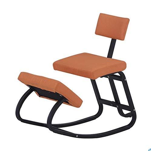 Silla mecedora ergonómica, para sentarse, corrección de postura y alivio de fatiga, silla de aprendizaje/silla de oficina para el hogar y la oficina, color naranja