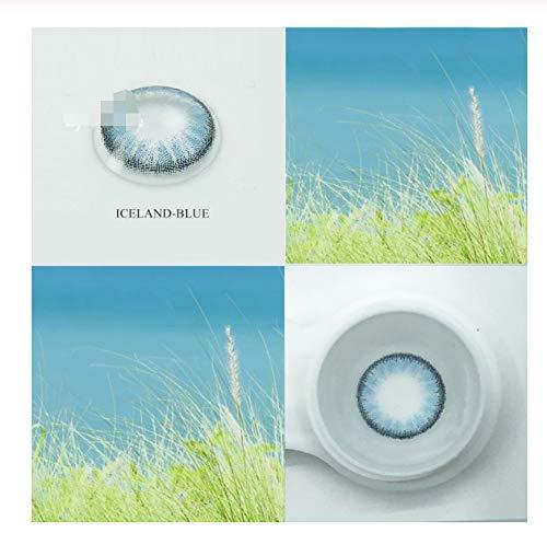 KANG-FANG, 1Pair Farbkontaktlinsen for die Augen Hybrid Kosmetik Augenfarbe Farbe Kontaktlinsen, 0.00 Dioptrien (Farbe : Blue, Größe : 0)