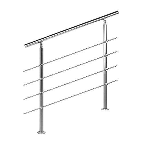 Treppengeländer Edelstahl 4 Querstäbe 80cm Brüstung Handlauf Geländer Treppe