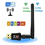 USB Wireless Adapter 600Mbps Realtek RTL8811AU Chipset With 2 dBi Antenna Dual Band 11AC WiFi Dongle IEEE 802.11 a b g n ac For Laptop Desktop IPTV USB 3.0 Network Adapter Support Windows 10 Mac Linux