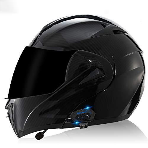 Casco modular con Bluetooth aprobado por la ECE, casco de motocicleta con visera solar para adultos, hombres y mujeres H, M