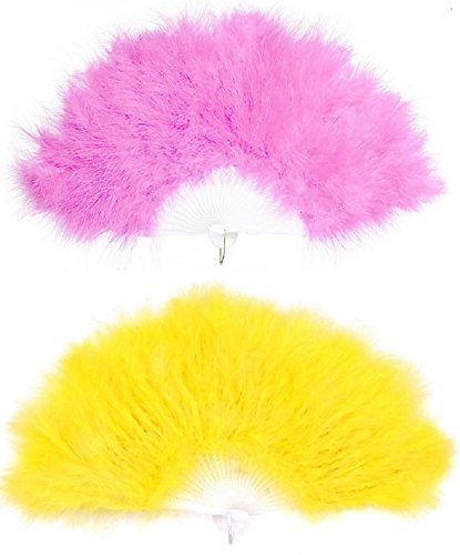 KitMall 2色セット ふわふわ 羽扇子 ジュリアナ扇子 ジュリ扇 ゴージャス セクシー コスプレ 仮装 衣装 ディスコ ボディコン お立ち台 バブル 結婚式 (ピンク-黄色)