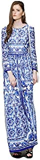 Runway Maxi Dress Womens Long Sleeve And White Printed