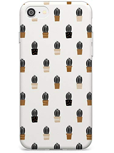Case Warehouse Patrón de Cactus en la Crema Slim Funda para iPhone SE TPU Protector Ligero Phone Protectora con Botánico Plantas Cactus De Boho Dibujado