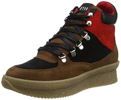 Steve Madden Pandora Sneaker, Zapatillas Altas para Mujer, Multicolor (Cognac/Red 890), 37 EU