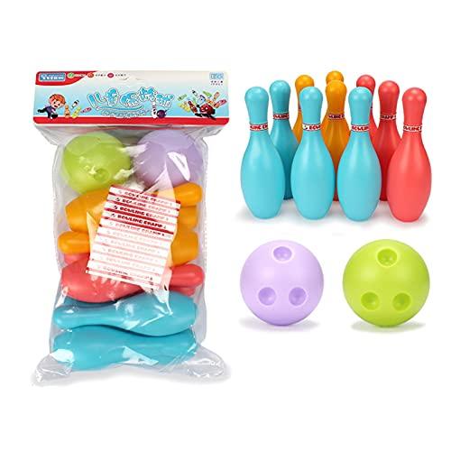 Kegelspiel für Kinder Bowling Ball Set mit 10 Kegel und 2 Bälle,Mini Kegelspiel Spielzeug Spiele für Kinder Drin und Draußen