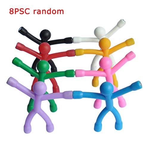 MXECO 8Pcs Biegbares magnetisches Q-Man Spielzeug Kinder Kinderspielzeug Niedliche flexible Gummifiguren Aufkleber zum Halten von Papieren Fotos (zufällig)
