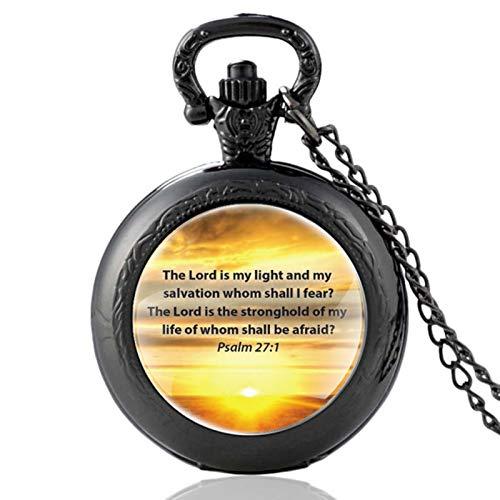ZDANG Versículo de la Biblia El Señor es mi luz y mi salvación a quien temeré Reloj de Bolsillo de Cuarzo Hombres Mujeres Reloj Colgante de Horas-Negro
