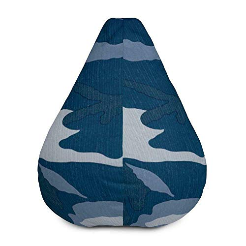 Price comparison product image Daana Grant All-Over Print Bean Bag Chair w / Filling - Camouflage - Navy-Slate