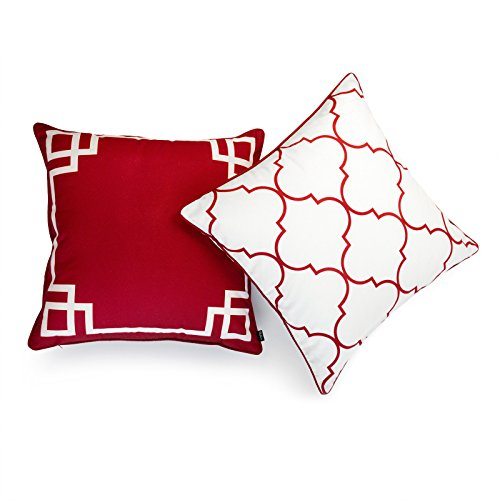 Hofdeco Valentine Indoor Outdoor Pillow Cover ONLY, Water Resistant for Patio Lounge Sofa, Red White Greek Key Moroccan, 20