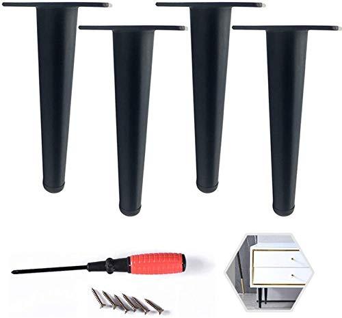 ZJDU Patas para Muebles, Modernos Patas de moce para sofá/gabinete/de Metal de Bricolaje pies de Soporte de Metal (Negro y Oro) Altura 512in (1230 cm) Conjunto de 4, Negro, 12 cm / 5in