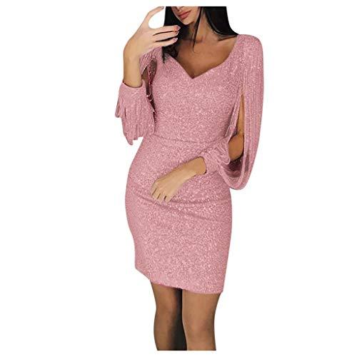 TWIFER Mode Pailletten Kleider für Damen Party Nacht Langärmelige Mini Bodycon Kleider(Rosa,XXXL)